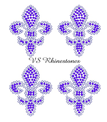 Fleur de lis Mini Filled Rhinestone Transfers - select Color (4)